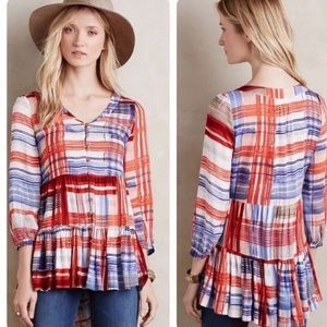 Anthropologie Maeve Lila Tiered Tunic Striped
